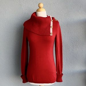 BANANA REPUBLIC Red Sweater Gold Button Size S